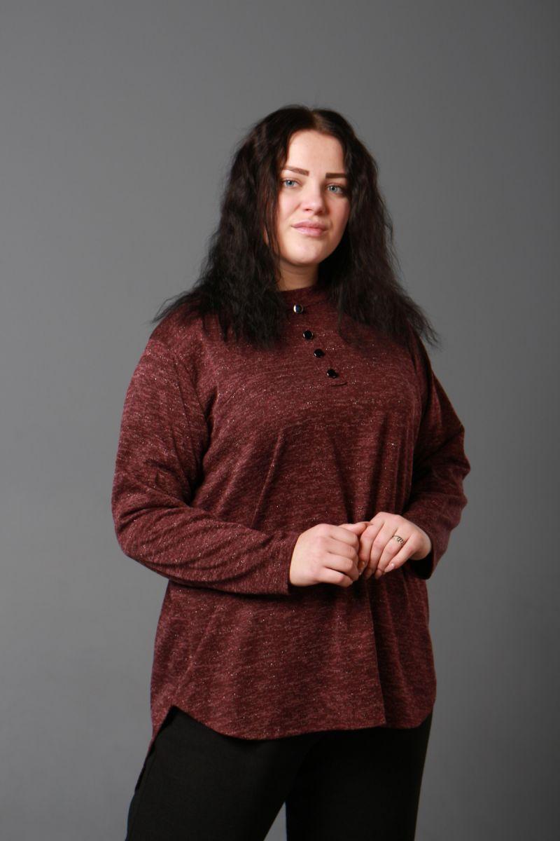 Туника большого размера в рубашечном стиле марсала люрекс доступна в цете  000-266 - Victorya-Shop.com