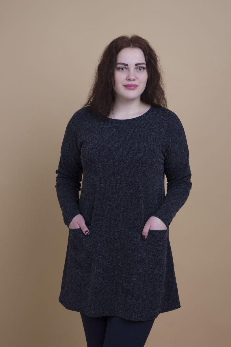 Туника для полных из мягкого трикотажа с карманами синий 000-382 - Victorya-Shop.com
