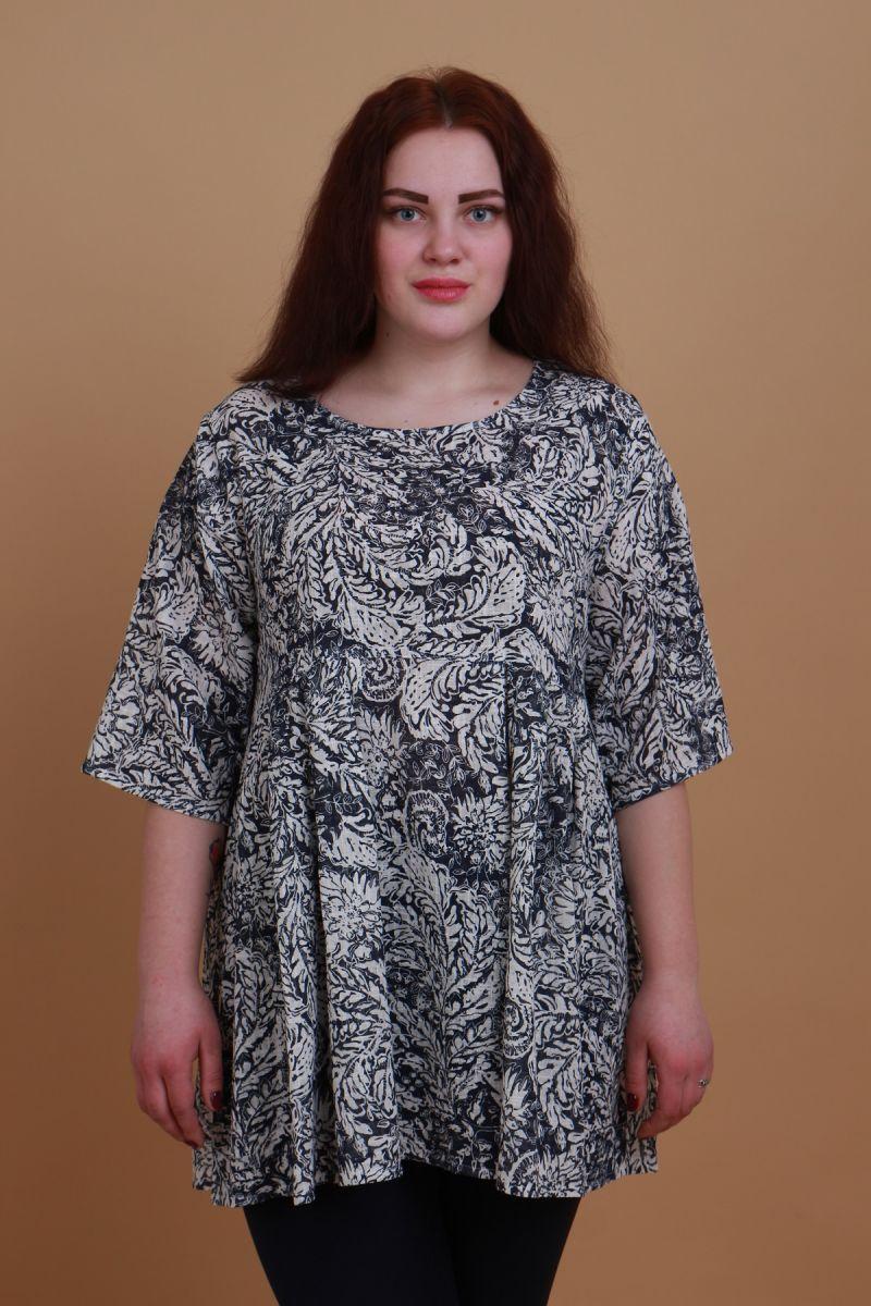 Туника для полных  лен очень легкий Валерия  00-133650 - Victorya-Shop.com