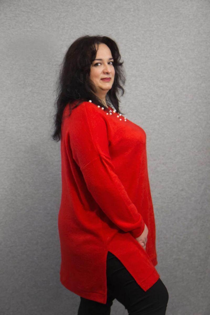 Туника из ангоры с искусственным жемчугом доступна в цвете 000-621 - Victorya-Shop.com