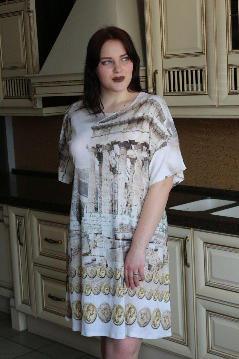 Туника-платье большого размера Лен 00-133527 - Victorya-Shop.com
