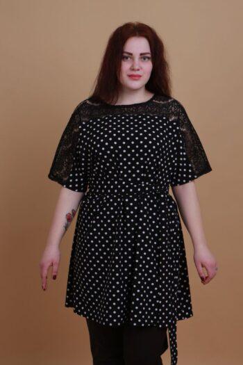 Туника-платье большого размера в горох из струящегося софта 000-403 - Victorya-Shop.com