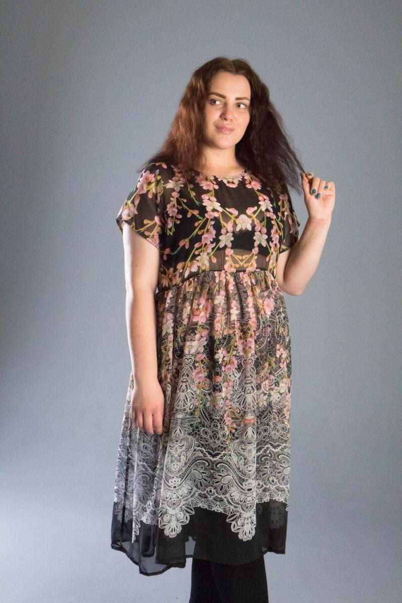 Туника -платье из шифона большого размера 000-542 Перфект - Victorya-Shop.com