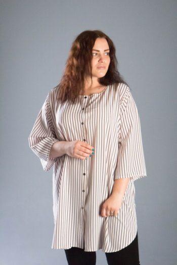 Туника рубашка большого размера 000-540 - Victorya-Shop.com