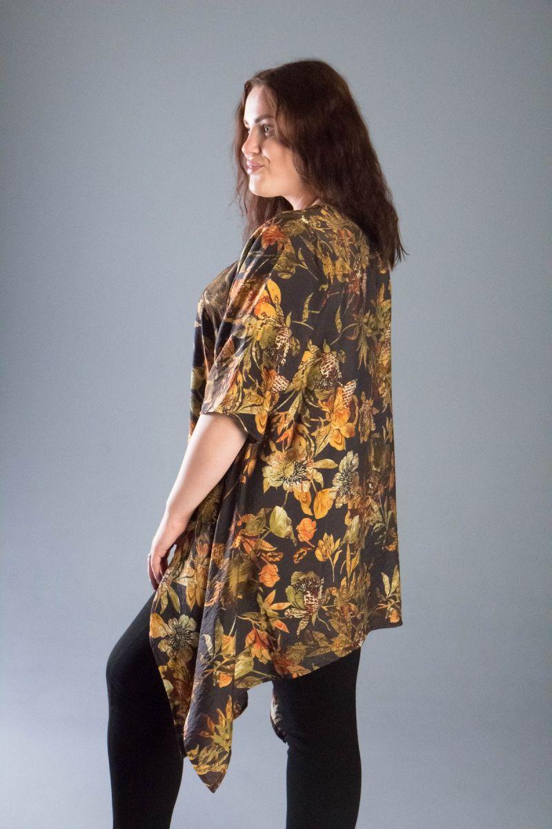 Туника с асимметрией  большого размера из натуральной ткани Флора 000-545 - Victorya-Shop.com