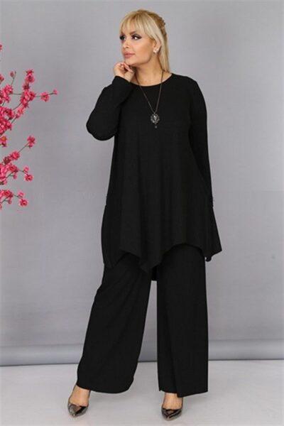 Женский костюм двойка черный из трикотажа доступен в цвете 000-576 - Victorya-Shop.com