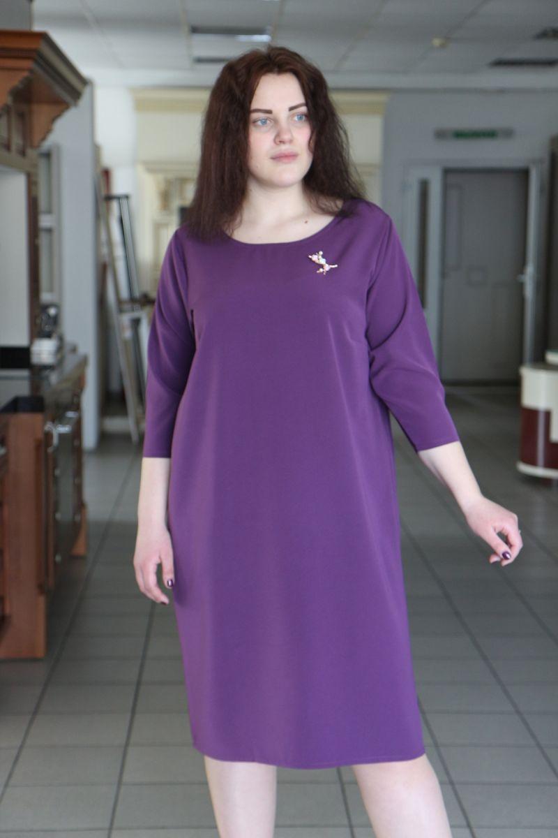 Женское платье  прямого силуэта с круглым вырезом цвет лиловый 000-483 - Victorya-Shop.com